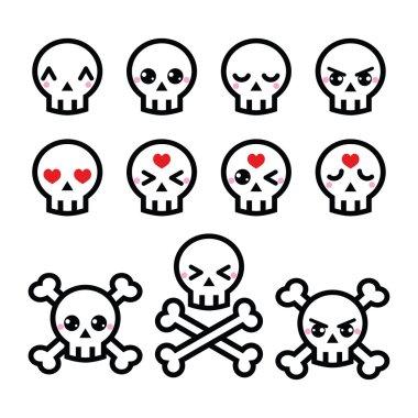 Kawaii cute Halloween skull icons set
