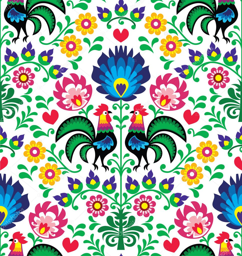 Seamless traditional floral Polish pattern with roosters - Wzory Łowickie