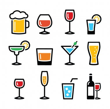 Beverages different types in glasses vector icons set isolated on white stock vector