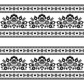 Photo Seamless Polish black folk pattern with flowers on white