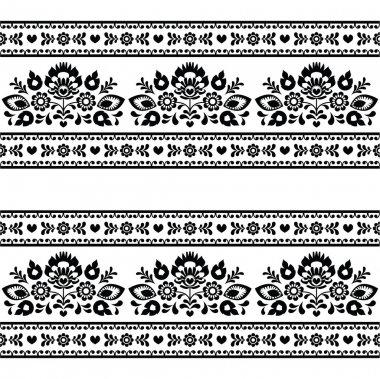 Repetitive background - polish folk Wzory Lowickie art decoration elements stock vector