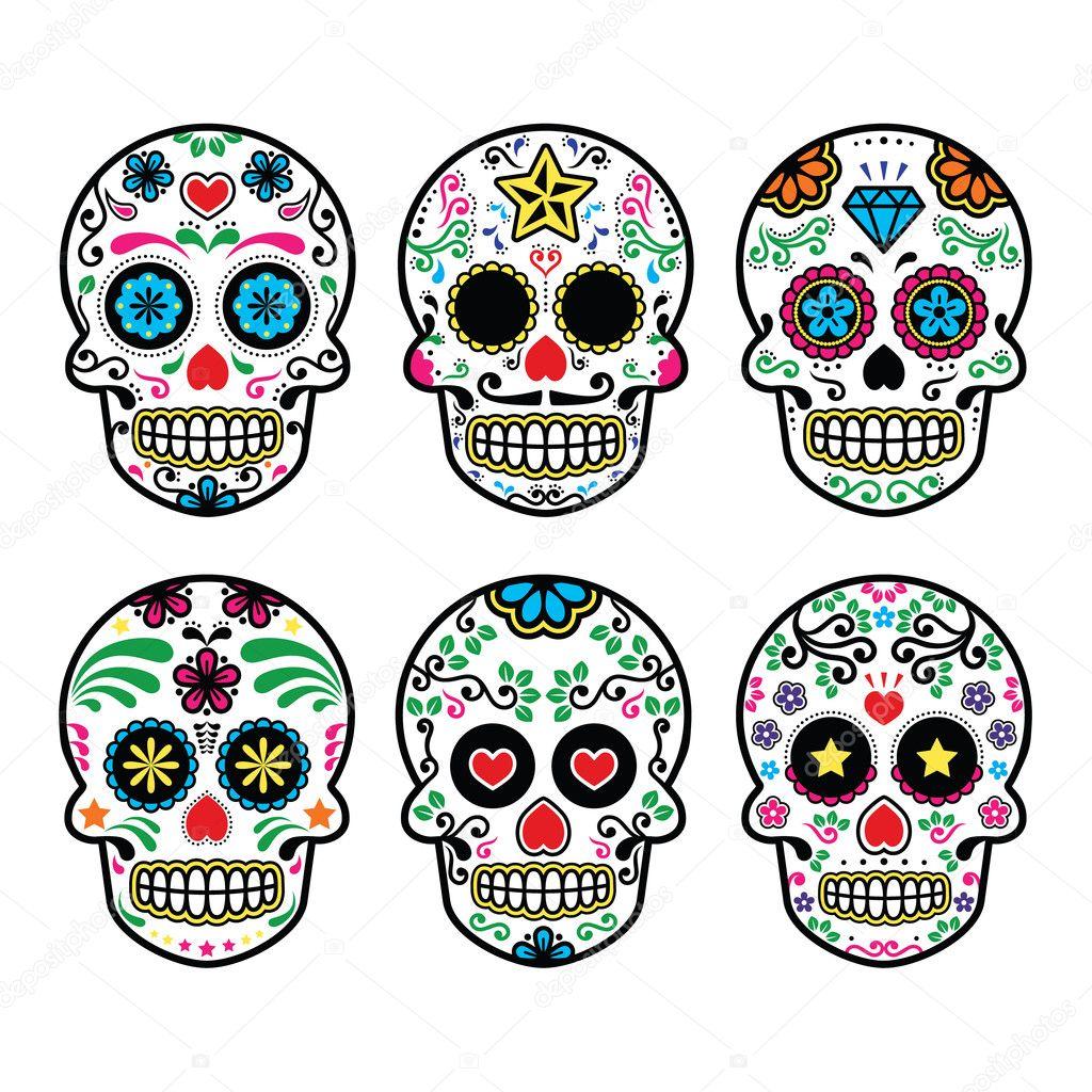 calavera de azúcar mexicana, dia de los muertos los iconos