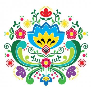 Norwegian folk art Bunad pattern - Rosemaling style embroidery