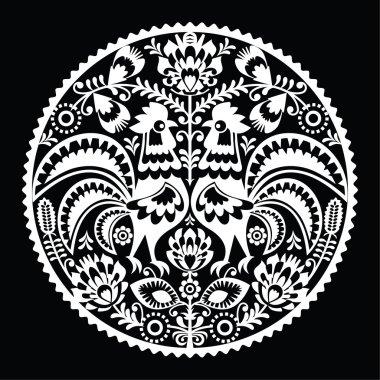 Polish folk art embroidery pattern with roosters - wzory lowickie, wycinanki