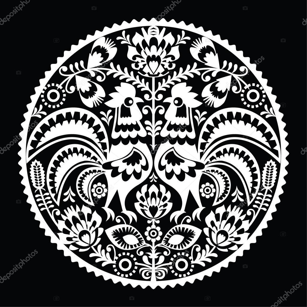 Polnische Volkskunst Stickerei Muster mit Roosters - Wzory Lowickie ...