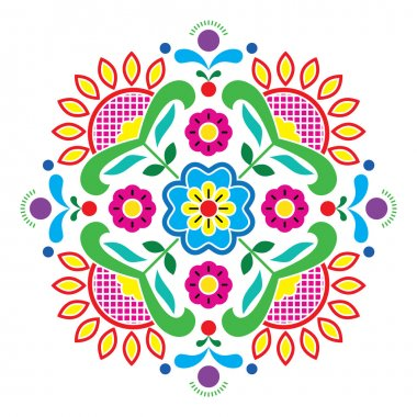 Norwegian traditional folk art Bunad pattern - Rosemaling style embroidery