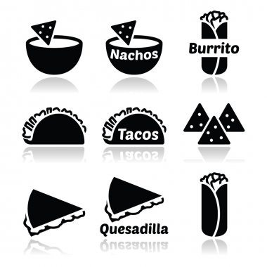 Vector icons set of traditional dishes from Mexico isolated on white stock vector