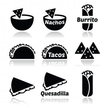 Mexican food icons - tacos, nachos, burrito, quesadilla