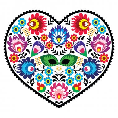 Polish folk art art heart embroidery with flowers - wzory lowickie