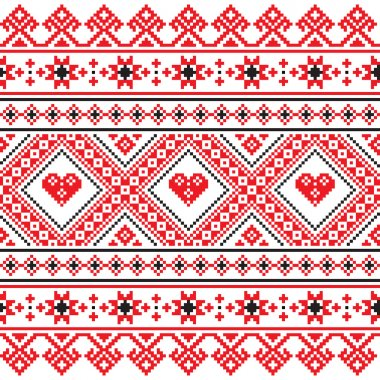 Traditional folk art knitted red embroidery pattern from Ukraine