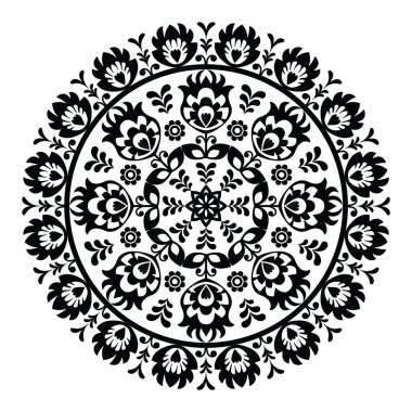 Polish folk art pattern in circle - wzory lowickie, wycinanki