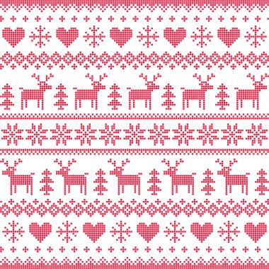 Winter, Christmas red seamless pixilated pattern with deer and hearts