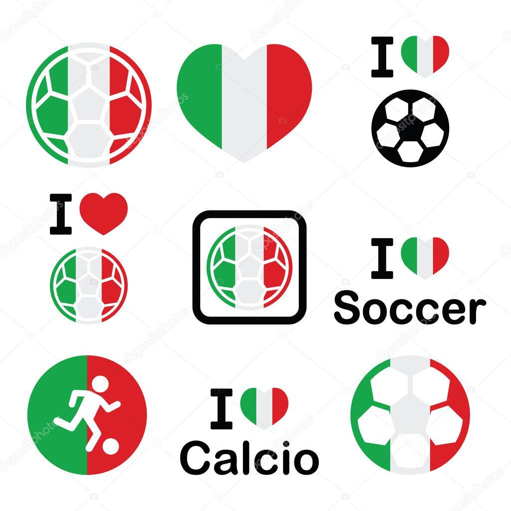 I love Italian football, soccer icons set