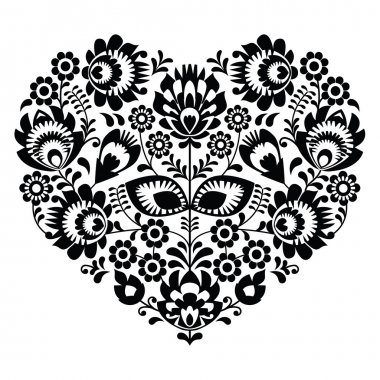 Polish folk art heart pattern in black - wzory lowickie, wycinanka