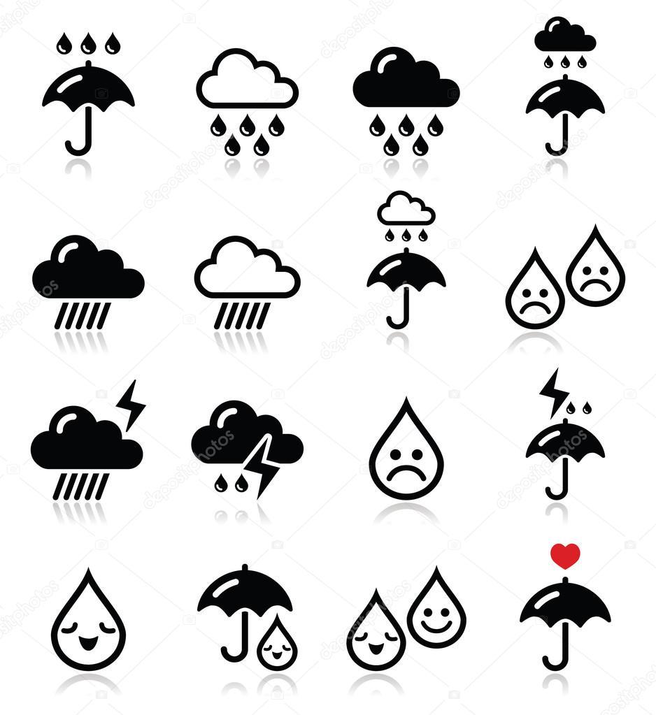 Rain, thunderstorm, heavy clouds  vector icons set