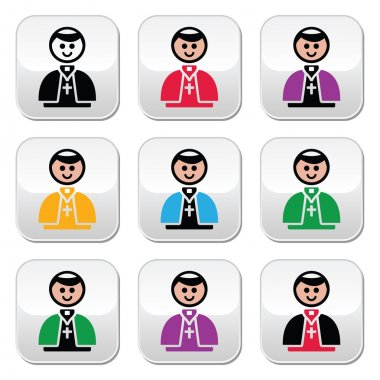 Catholic church pope vector buttons set