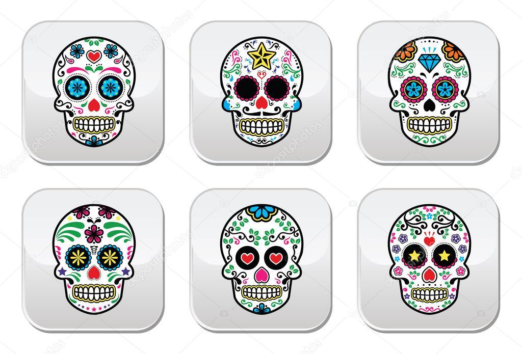 calavera de azúcar mexicana, dia de los muertos los botones — Vector ...