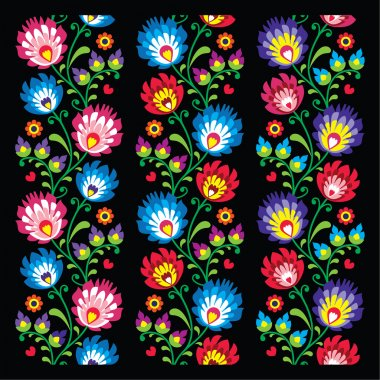 Repetitive colorful background, folk art cutouts prints from Poland - wzory lowickie stock vector