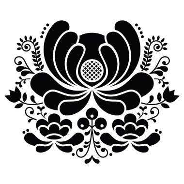 Norwegian folk art black and white pattern - Rosemaling style embroidery