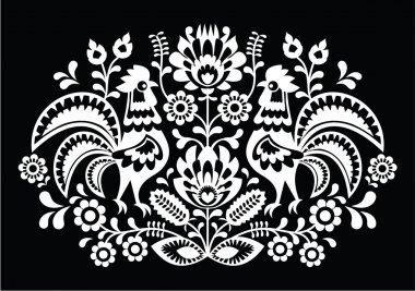 Polish folk art pattern roosters on black - Wzory Lowickie, Wycinanka