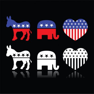 USA political parties symbols - Democrats and Republicans on black