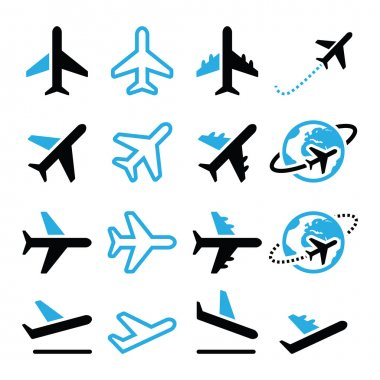 Vector icons set of flying plane isolated on white stock vector