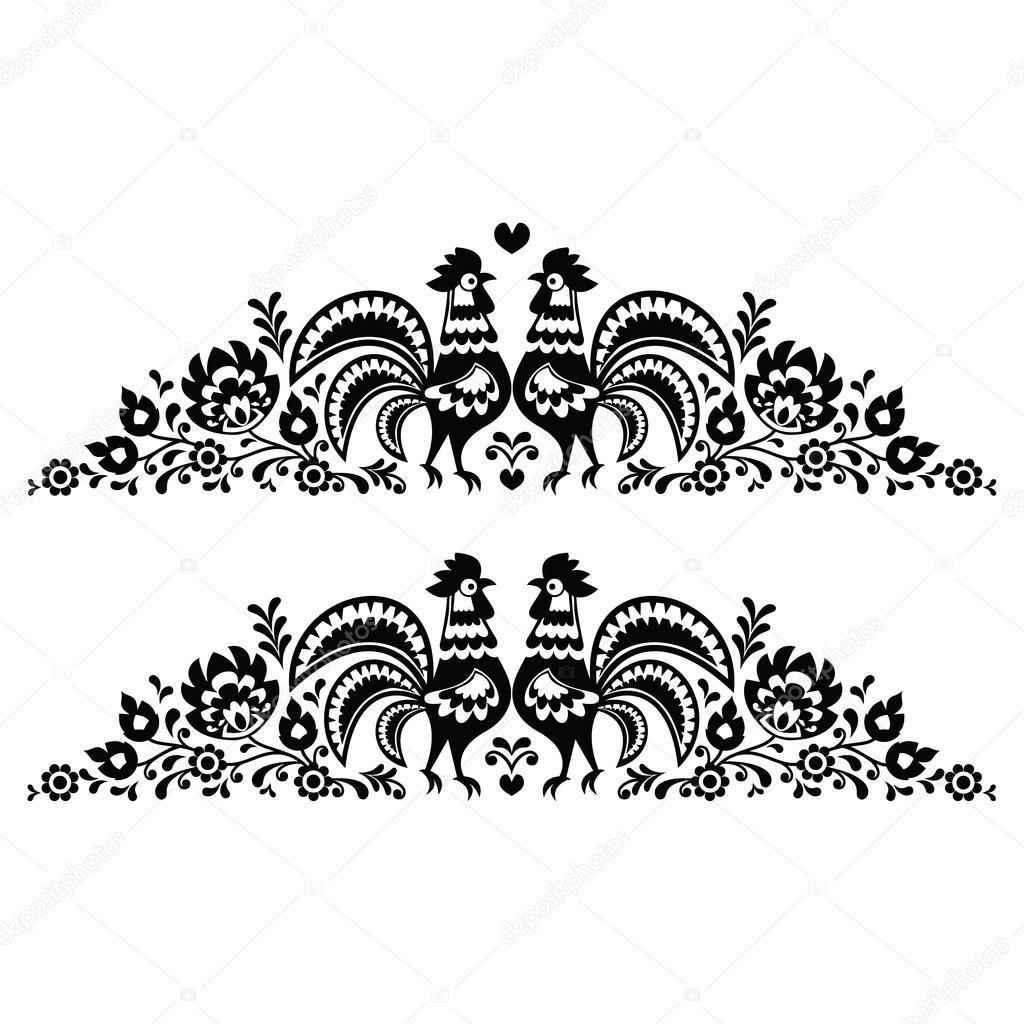 patron para bordar mucho arte floral folk polaco con gallos - wzory ...