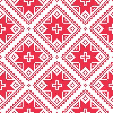 Seamless Ukrainian, Slavic folk art red embroidery pattern