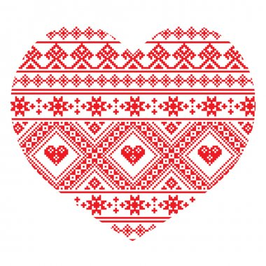Traditional Ukrainian folk art heart knitted red embroidery pattern