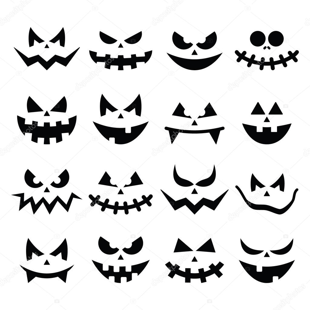 scary halloween pumpkin faces icons set stock vector 51511955 - Scary Halloween Pumpkin Faces