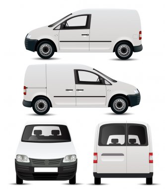 White Commercial Vehicle Mockup stock vector