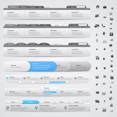 Set of web design elements