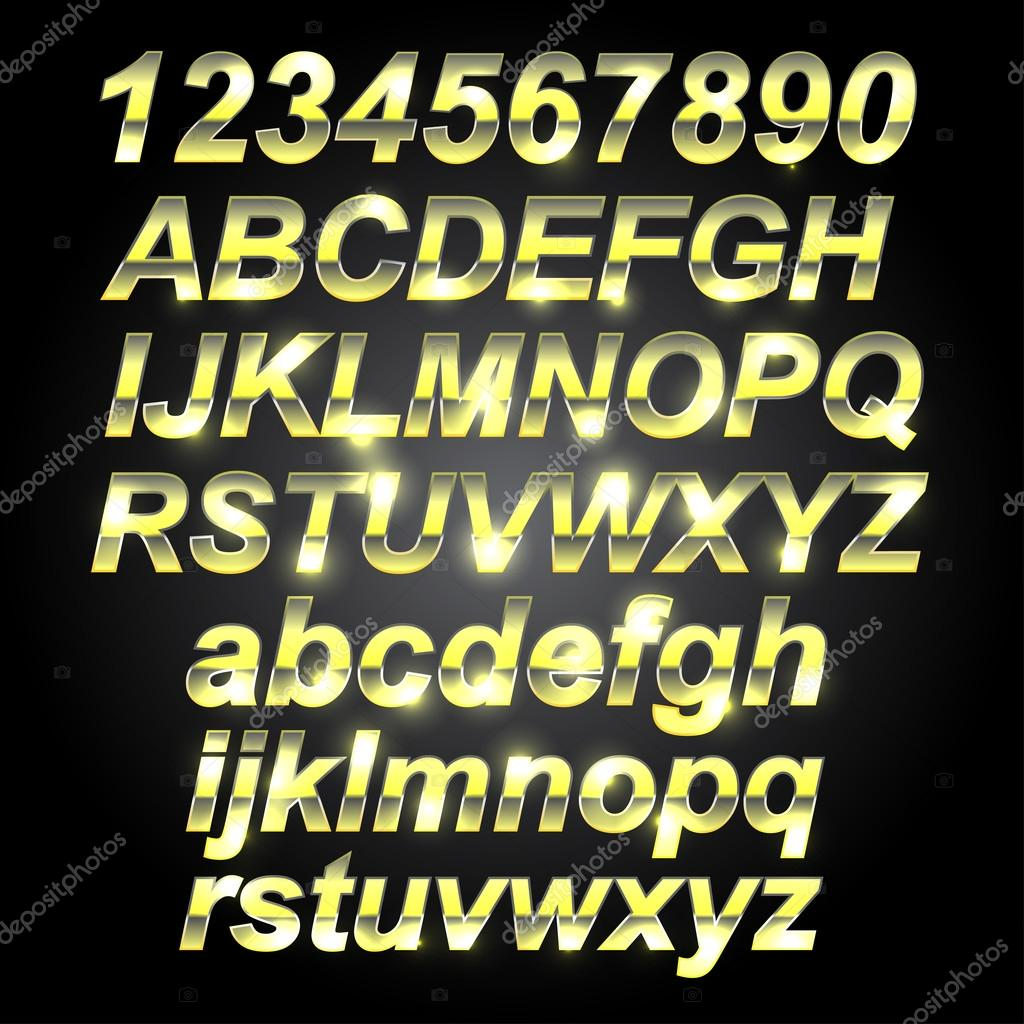 Metal Letters And Numbers Endearing Gold Metal Font Letters And Numbers — Stock Vector © Robisklp Decorating Inspiration