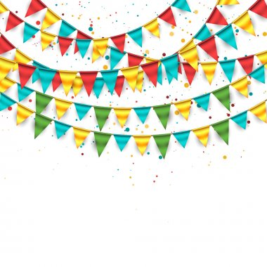 Confetti Background with Garland and Buntings