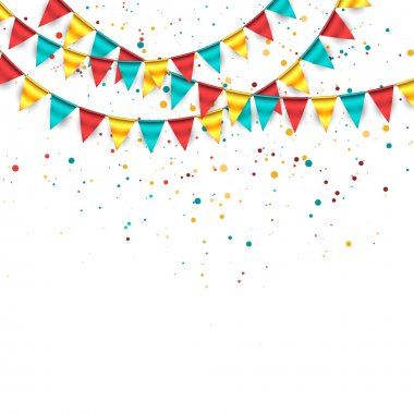 Confetti Background with Garland and Buntings stock vector