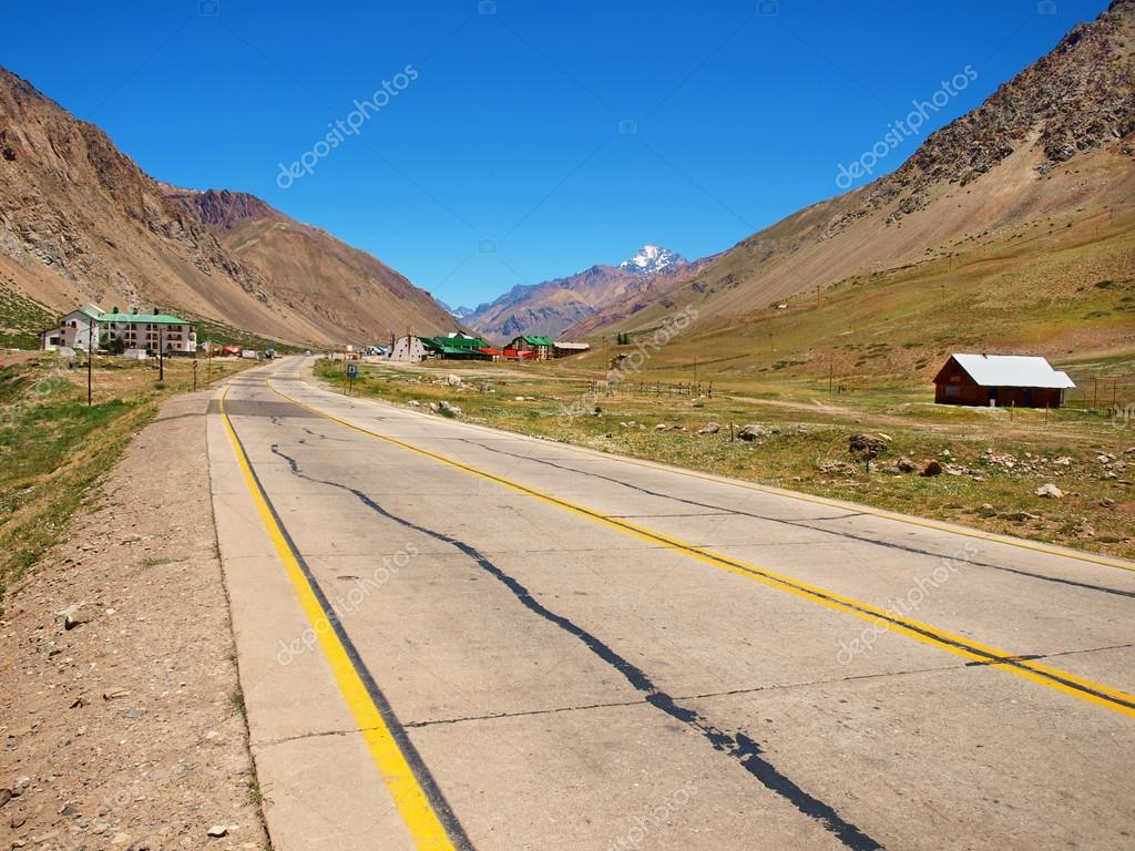 Mountain road in the Andes a Los Penitentes ski resort in Mendoza, Argentina, South America