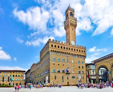 Panoramic view of famous Piazza della Signoria with Palazzo Vecchio in Florence, Tuscany, Italy