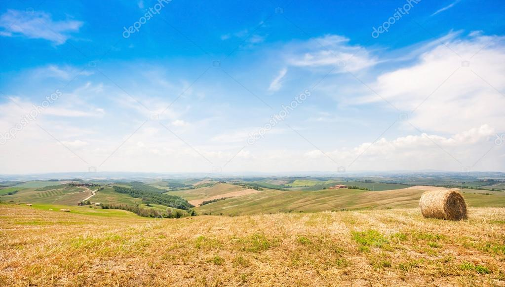 Beautiful landscape with hay bale in spring, Val d'Orcia, Tuscany, Italy