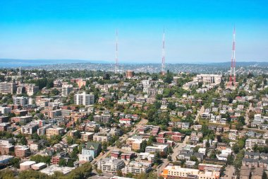 Aerial view of Queen Anne Hill neighborhood in Seattle, WA