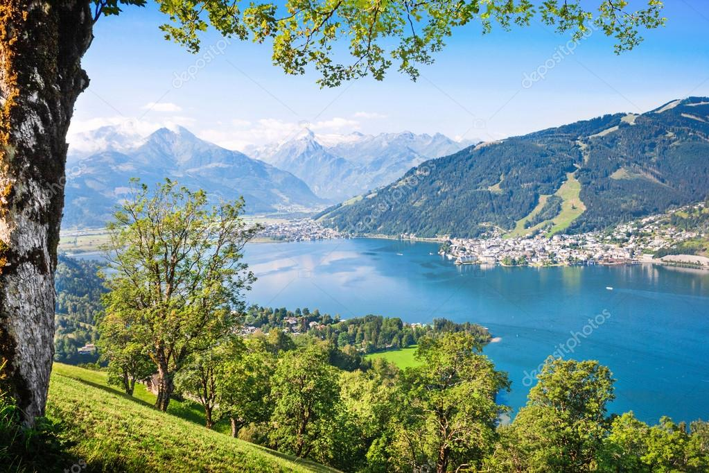 sch ne aussicht auf zell weggis mit zeller see im salzburgerland sterreich stockfoto. Black Bedroom Furniture Sets. Home Design Ideas