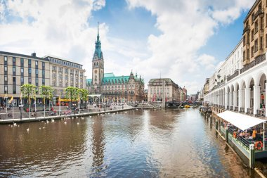 Beautiful view of the city center of Hamburg, Germany.