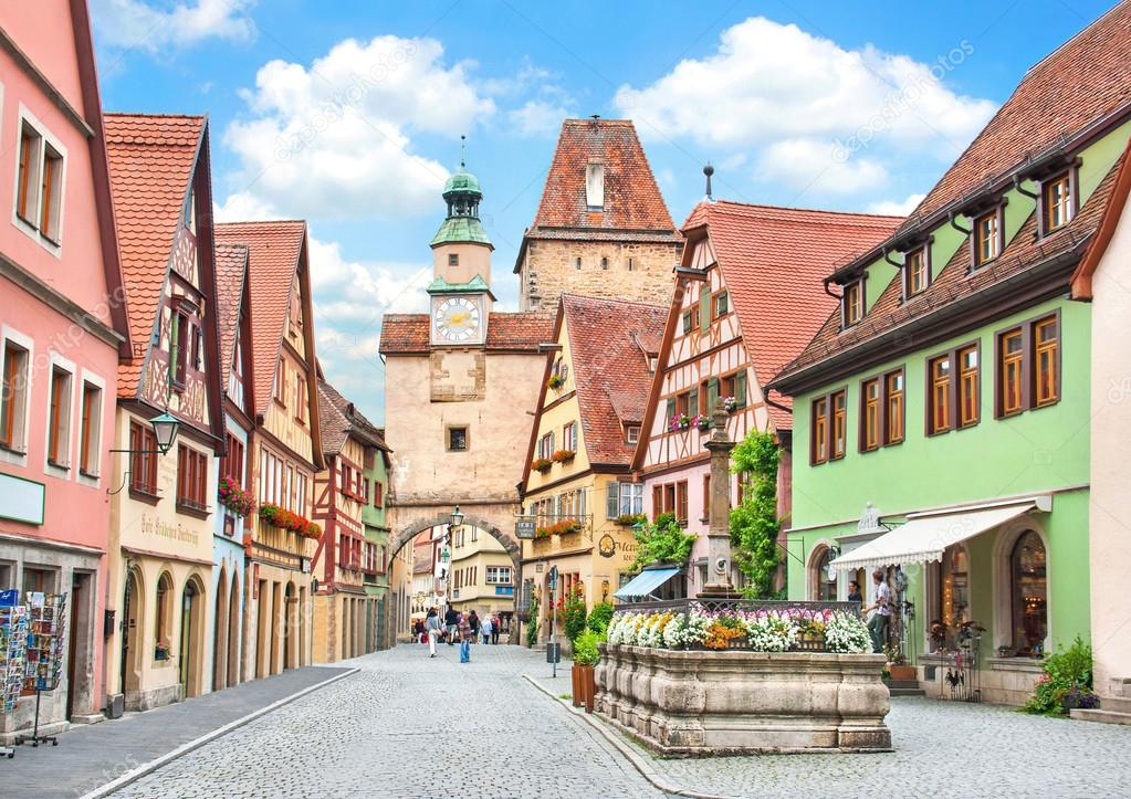 Фотообои Historic town of Rothenburg ob der Tauber, Franconia, Bavaria, Germany