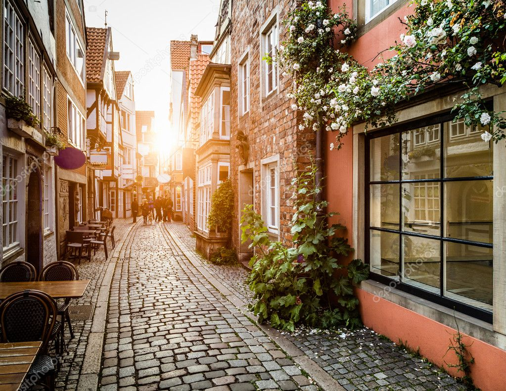 Фотообои Historic Schnoorviertel at sunset in Bremen, Germany