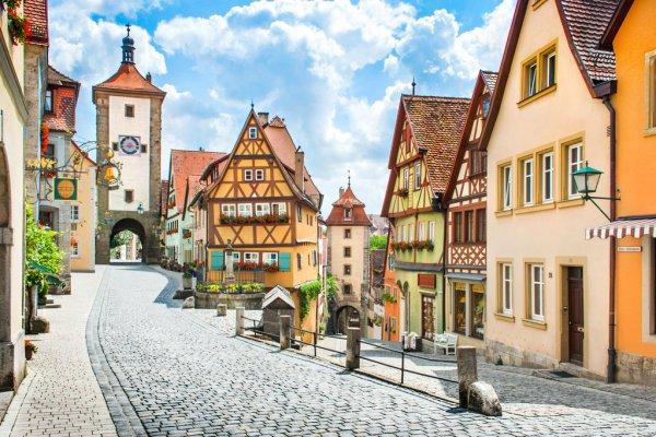 Medieval town of Rothenburg ob der Tauber, Franconia, Bavaria, Germany