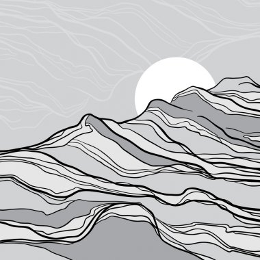 Abstract black and white landscape with mountains and sun