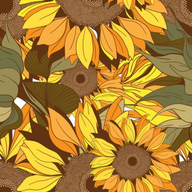 Vector seamless pattern from flowers and sunflower leaves