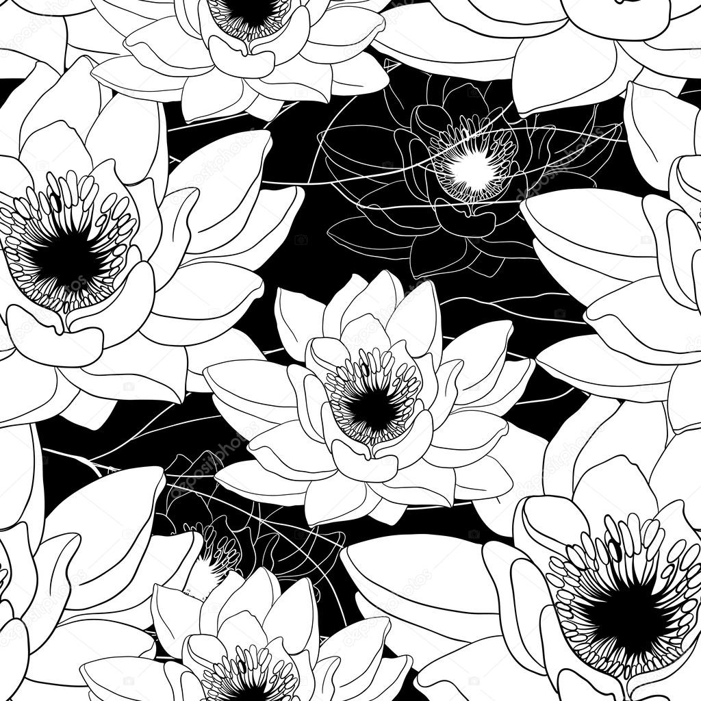 Monochrome seamless pattern with water lilies