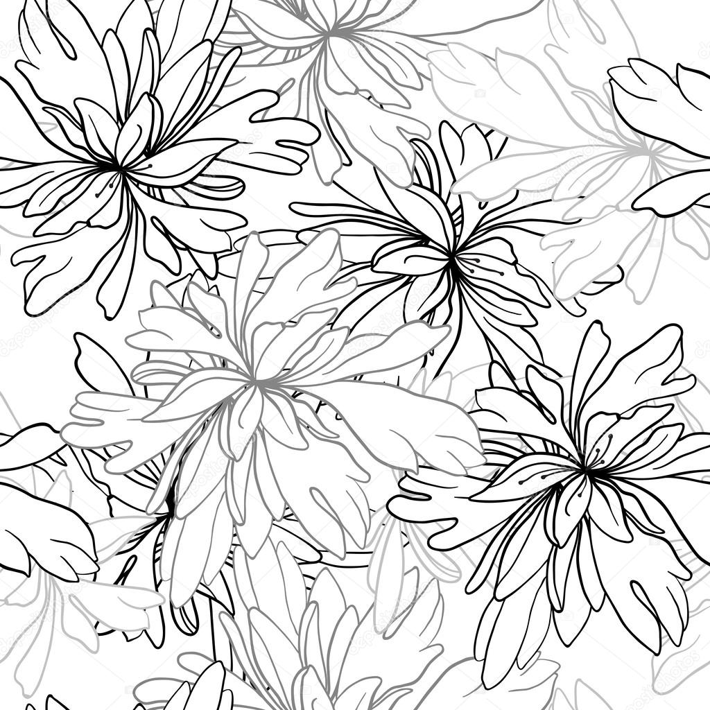 vector seamless pattern of abstract black white flowers and leaves stock vector