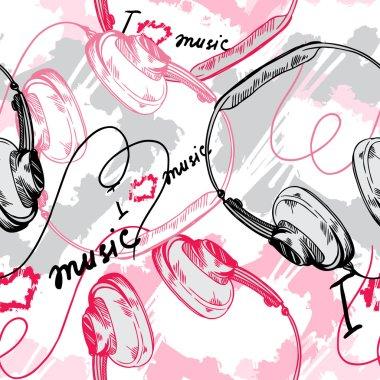 Vector headphones.concept of love music