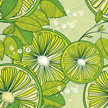 Mojito cocktail - seamless pattern of lime and mint leaves